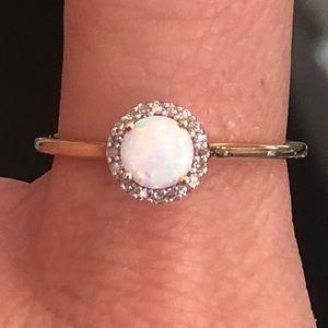 10k Gold Opal Diamond Halo Ring